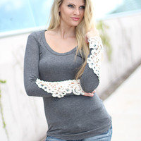 Charcoal Top With Crochet Sleeves