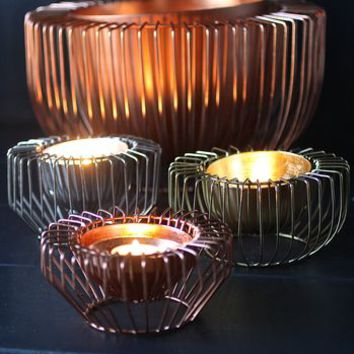Three Wire Tealight Holders In Gold Copper And Steel