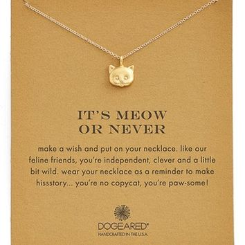 Women's Dogeared 'Reminder - It's Meow or Never' Cat Pendant Necklace