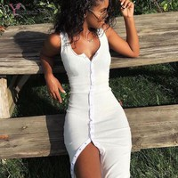 Women AutumnDresses  Long Sleeve Kintted Dress Slim Bodycon Bandage Women Dresses Vestidos  Front Single-breasted back V Dress