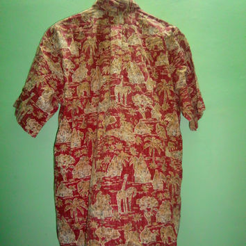 Reyn Spooner Kloth Hawaiian Shirt Reverse Print Giraffes Thatched Huts Africa size large