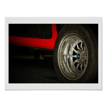 Red Ford Cortina Tyre Stylized Photo Canvas Poster