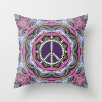 Happy Hippy Psychedelic Sparkle Throw Pillow by Webgrrl | Society6