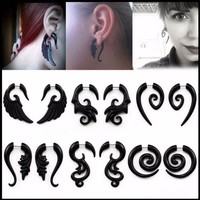ac DCCKO2Q Punk style 1 Pair Acrylic Acrylic Spiral Gauge Ear Plug Fake Cheater Stretcher Flesh Earrings Piercing Jewelry