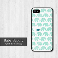 Green Elephant iPhone 5 case, Elephant iPhone 5 hard case, Lovely cover skin case for iphone 5 (Hard / Rubber case for choice)