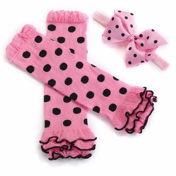 Pink Child Leg Warmers Dots Headbands Set,Girls Knitted Socks,Protetor De Berco De Bebe,Baby Knee Pads,#3T0016