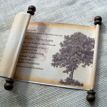 Vintage tree Bar Mitzvah or Bat Mitzvah invitation scroll