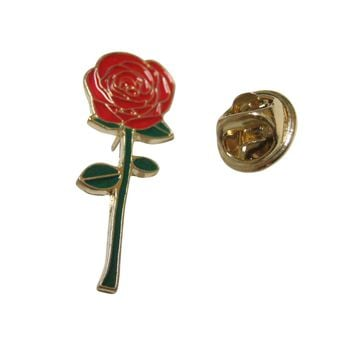 Colorful Red Rose Flower Lapel Pin