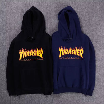 2017 new fashion trasher sweatshirt men long sleeve autumn winter thrasher hoodie fleece male fleece tracksuit hoody funny drake