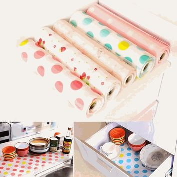 Family Wardrobe Kitchen Cabinet Drawer Moisture-proof Printing Table Green Household Mat Dinning Table Placemats