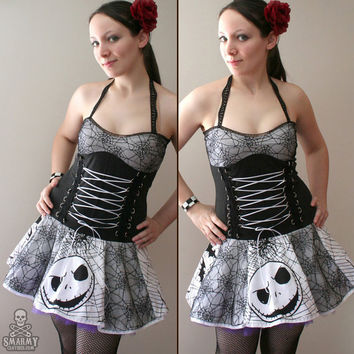 Nightmare Before Christmas spiderweb corset dress - handmade custom size - smarmyclothes