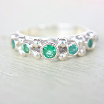 Emerald Ring Natural Emerald Engagement Ring Colombian Emerald Engagement Ring Green Gem Ring May Birthstone Ring Promise Ring Size 10
