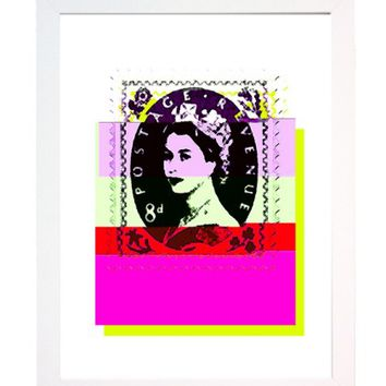 Pixelated Pink Queen Stamp A4 Print