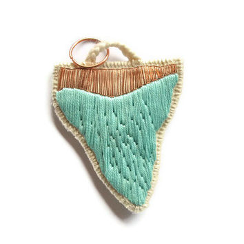 Shark tooth pendant embroidered French vintage copper metal thread mint green neon hot pink OR white modern jewelry