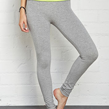 FOREVER 21 Striped Fold-Over Yoga Leggings Heather Grey/Lime X-Small