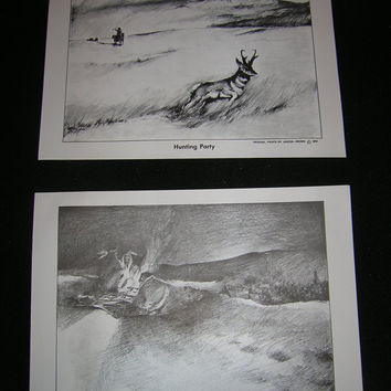 American Indian Sketched Art 6 in set Original Prints Jagoda - Brown 1972 Ready to Frame