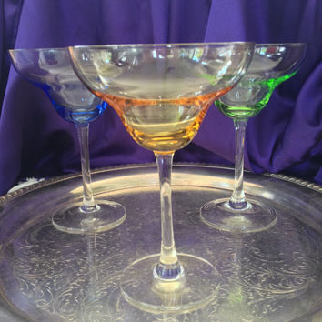 Gem Tone Margarita Glasses, Citrine, Sapphire, Emerald, Optic Colored Bowls, Long Stemmed Clear Set of Three Vintage Cocktail Artisan Blown