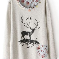 Grey Long Sleeve Lace Deer Floral Print Sweatshirt Grey
