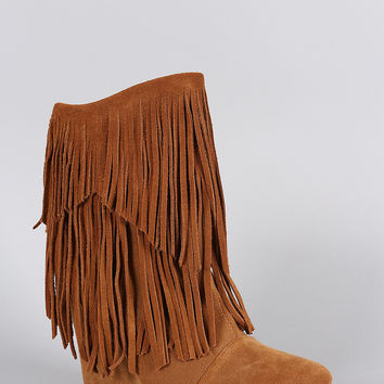 Liliana Bohemian Fringe Mid Calf Wedge Boot