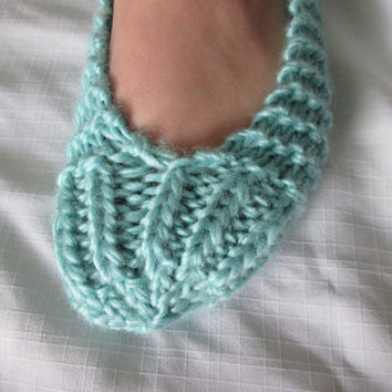 Ballet Slippers for Women in Ice Blue Wool Blend Yarn with Ankle Wrap Ribbon / One Size Fits Most / Non Skid Sole