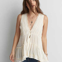 AEO Button Front Tunic Top , Cream