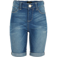 River Island Girls blue denim knee length shorts