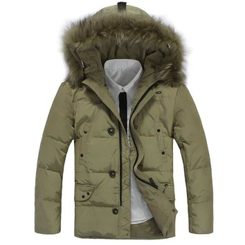 Fashion Winter Warm Men White Duck Down Parkas Slim Mid Long length Men Down Jacket Thicken Hooded Coat Casual Clothing