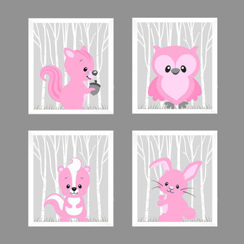 Woodland Animals in Pink Squirrel Bunny Skunk Owl CUSTOMIZE COLORS, 8x10 Prints, set of 4, Nursery Decor Print Art Baby Room Baby Girl