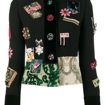 DCCKIN3 Dolce & Gabbana Patch Embellished Fitted Military Jacket