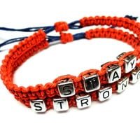 Stay Strong Bracelet Set, Red Macrame Hemp Jewelry, Adjustable Size