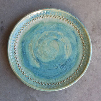 "Stoneware Serving Plate, 11 3/4"" Pottery Keramik Serving Dining Housewares Kitchen Home Decor Decorative Plate in Blues and Greens"