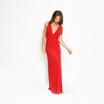 New Year Sale, Red Long Dress, V Neck  Maxi Dress, Cocktail Party Dress