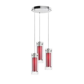 Dianolite 3 Light Polished Chrome Clear Glass Round Pendant with Jewel Tones Red Fabric Sleeve Silver Wire