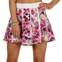 Sale-pink Bed Of Roses Skater Skirt