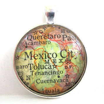 Mexico City Pendant from Vintage Map in Glass by CarpeDiemHandmade