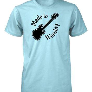 Made To Worship Bass Player Music Worshiper Band Christian T-Shirt for Men