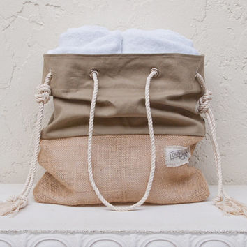 Khaki Canvas Tote Large Beach Bag Shopper Tote Beach Tote Burlap