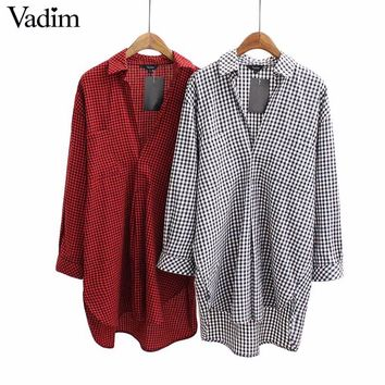 Women V neck plaid long shirts long sleeve loose blouses female casual work tops