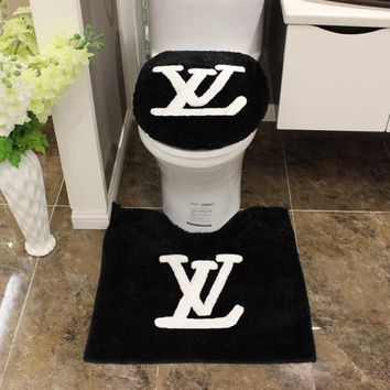 LV Louis Vuitton Fashion Bathroom Set Toilet Set Cover U Bath-Mat 3pcs Set Toilet Seat Cushion