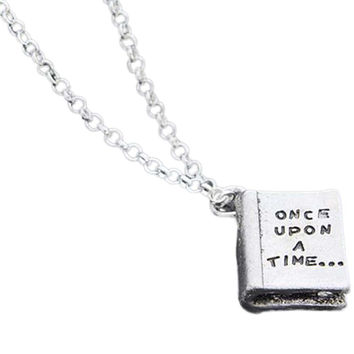 2017 Women Jewelry Gift Antique Silver Fairy Tale Book Charm Pendant Necklace Once Upon A Time