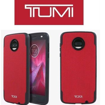 TUMI Coated Canvas Co-Mold Case for Moto Z2 Force Edition Red Black