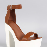 Wild Diva Lounge Two-Tone Leatherette Ankle Strap Lug Sole Platform Heel