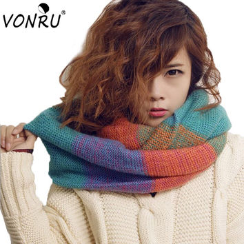 Fashional Womens Winter Scarves Warm Knitted Wool Neck Scarf Wrap Women Cape Multicolor Rainbow Infinity Circle Scarfs W3040