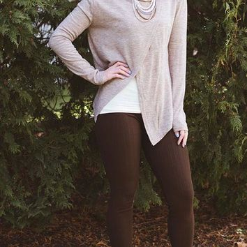 Cross Over Cowl Neck Sweater - Tan