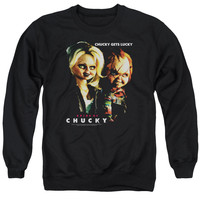 BRIDE OF CHUCKY/CHUCKY GETS LUCKY - ADULT CREWNECK SWEATSHIRT - BLACK -