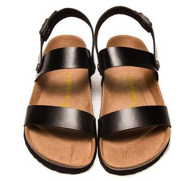 Birkenstock Leather Cork Flats Shoes Women Men Casual Sandals Shoes Soft Footbed Slippers-186
