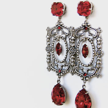 Long Red Swarovski Crystal Drop Earrings