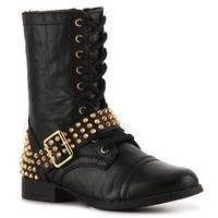 Kick it in a casual cool boot from Steve Madden! The edgy stud embellishments on the Terrn biker boot will jump start the moto trend for your fall wardrobe in a fabulous way.