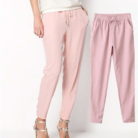 Women's Long Casual Elastic Chiffon Trousers