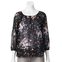 LC Lauren Conrad Print Peasant Top - Women's